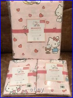 NEW Pottery Barn Kids Hello Kitty Organic Full/Queen Duvet Cover & Shams, Pink