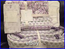 NEW Pottery Barn Kids Keira Paisley Crib Quilt Bumper Skirt Sheet Set, Lavender