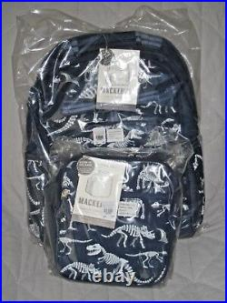 NEW Pottery Barn Kids LARGE Dinosaur Dino GLOW-in-the-DARK Backpack + Lunch Bag