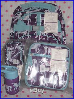 NEW Pottery Barn Kids LARGE Plum UNICORN Backpack 4 PC SET! LAST ONE