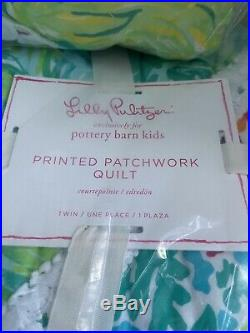 NEW Pottery Barn Kids Lilly Pulitzer PARTY PATCHWORK Twin Quilt + 1 Std Shams