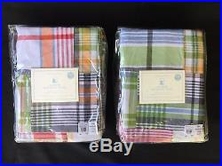 NEW! Pottery Barn Kids Madras Navy blackout curtains panels 84 inch, set of 2