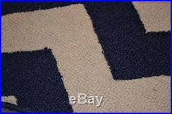 NEW Pottery Barn Kids Navy/White CHEVRON Zig Zag Wool Rug 3 x 5