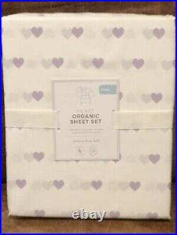 NEW Pottery Barn Kids Organic Heart Full Sheet Set, Lavender/White