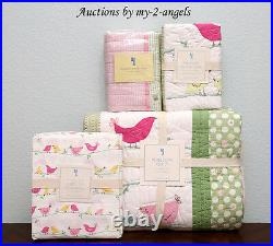 NEW Pottery Barn Kids PENELOPE Bird Twin Quilt+2 Shams+Sheet Set PINK/GIRLS