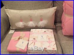 NEW Pottery Barn Kids Pink Cozy Comforter Quilt Sham Ballerina Sheet Set Pillow