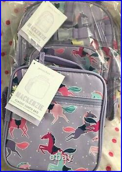 NEW Pottery Barn Kids SMALL Lavender Horse Backpack + CLASSIC LUNCH BAG