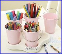 NEW Pottery Barn Kids White Lazy Susan & Pink Mini Buckets Storage Set PBK
