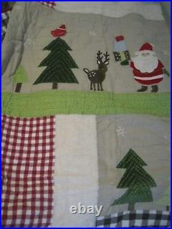 NEW Pottery Barn Kids Winter Wonderland Santa Twin Quilt Last One RARE