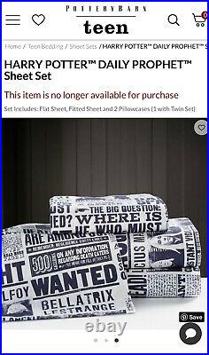 NEW Pottery Barn Teen Harry Potter Daily Prophet NWT Full Sheet Set