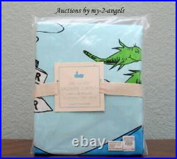 NEW RARE Pottery Barn Kids DR. SEUSS SHOWER CURTAIN one fish two fish BLUE