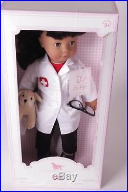 NIB Pottery Barn Kids Gotz Brooklyn Veterinarian 18 doll, dog, glasses, coat