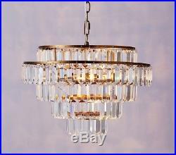 NIB Pottery Barn Kids Rectangular Crystal Drop chandelier clear glass