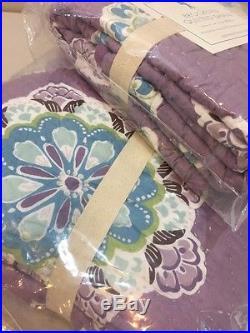 NIP 2P Pottery Barn Kids Lavender BROOKLYN Quilt EURO Sham Set TWIN