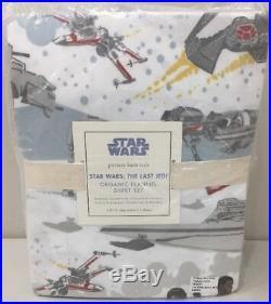 NIP 4P Pottery Barn Kids Star Wars THE LAST JEDI Organic Flannel Sheet Set FULL