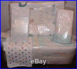 NIP 5P Pottery Barn Kids Baby ROWAN ORGANIC Nursery Crib Quilt Bumper Skirt Set
