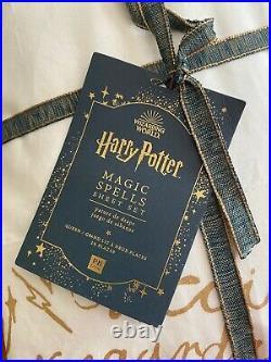 NWT Pottery Barn Harry Potter Magic Spells Sheet Set Gold Script Queen