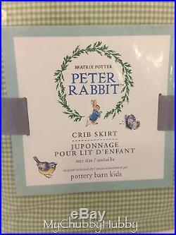 NWT Pottery Barn Kids 3Pc BEATRIX POTTER Crib SKIRT, SHEET, Sham PETER RABBIT