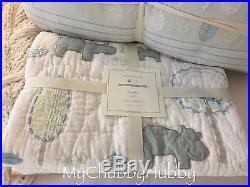 NWT Pottery Barn Kids 4Pc CHARLIE HIPPO CRIB Quilt BUMPER Pillow+ SAFARI Zoo