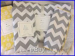 NWT Pottery Barn Kids 4Pc GEORGIA QUILT Crib Skirt SHEET+ YELLOW & GRAY Geo