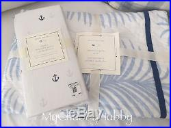NWT Pottery Barn Kids 4Pc NANTUCKET PALM CRIB Quilt PILLOW Sheet+ BLUE ANCHOR