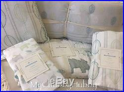NWT Pottery Barn Kids 5Pc CHARLIE HIPPO CRIB Quilt BUMPER Sheet+ SAFARI Zoo