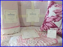 NWT Pottery Barn Kids 5Pc NANTUCKET PALM CRIB Quilt BUMPER Sheet+ PINK WHALE