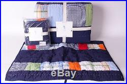 NWT Pottery Barn Kids Aaron FQ quilt & 2 shams full queen f/q navy patchwork