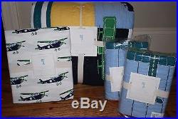 NWT Pottery Barn Kids Airplane Full quilt, 2 euro shams & full sheet set plane