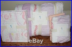 NWT Pottery Barn Kids Bailey Ruffle twin quilt, sham & mermaid sheet set coral