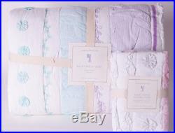 NWT Pottery Barn Kids Bailey Ruffle twin quilt & standard sham aqua pink
