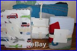 NWT Pottery Barn Kids Brody twin quilt, sheet set & standard sham cars planes