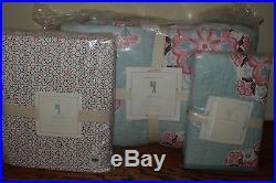 NWT Pottery Barn Kids Brooklyn aqua pink twin quilt, std sham & sheet set