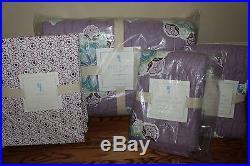 NWT Pottery Barn Kids Brooklyn lavender aqua FQ quilt, 2 shams & full sheet set