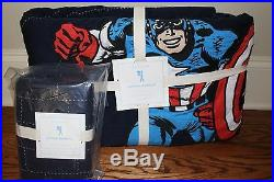 NWT Pottery Barn Kids Captain America twin quilt & euro sham