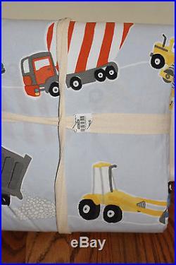 NWT Pottery Barn Kids Construction twin cotton duvet cover, sham & pillowcase