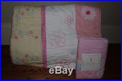 NWT Pottery Barn Kids Daisy Garden pink twin quilt & standard sham