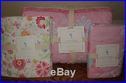 NWT Pottery Barn Kids Daisy Garden twin quilt 2 shams & Garden Party sheet pink