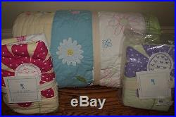 NWT Pottery Barn Kids Daisy Garden twin quilt, st or euro sham & sheet set green