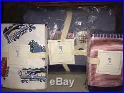 NWT Pottery Barn Kids Emmett train twin quilt, standard sham & sheet set