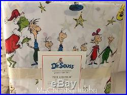 NWT Pottery Barn Kids GRINCH FULL COTTON Sheets Dr. Seuss CHRISTMAS Teen