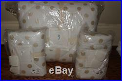 NWT Pottery Barn Kids Gold Dot FQ quilt & 2 shams polka dot full queen f/q
