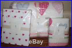NWT Pottery Barn Kids Heart pink twin quilt, sham & heart sheet set ships asap