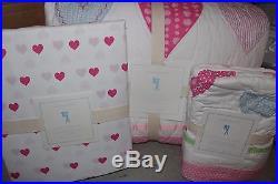 NWT Pottery Barn Kids Heart twin quilt, sham & sheet set pink