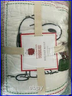 NWT Pottery Barn Kids Holiday Peanuts Snoopy Quilt Set Full/Queen with 2 Shams
