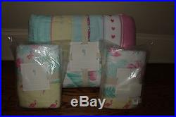 NWT Pottery Barn Kids Isla Surf Patch FQ quilt & 2 shams full queen girls pink