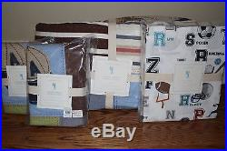 NWT Pottery Barn Kids Junior Varsity Full quilt, 2 shams & LIam sports sheet set