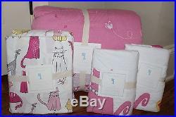 NWT Pottery Barn Kids Kitty Cat Full quilt & 2 standard shams & sheet set