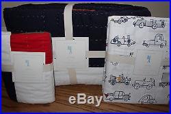 NWT Pottery Barn Kids Logan twin quilt, sham & cars sheet set