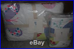 NWT Pottery Barn Kids Lucy butterfly twin quilt & standard sham